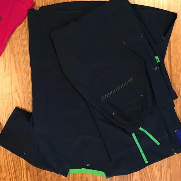 Navy blue and green carhartt scrubs
